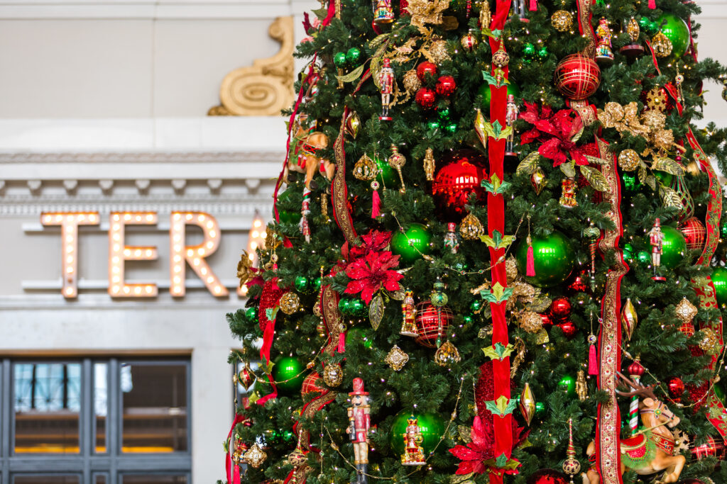 Christmas Tree with colorful decorations at Union Station, Denver